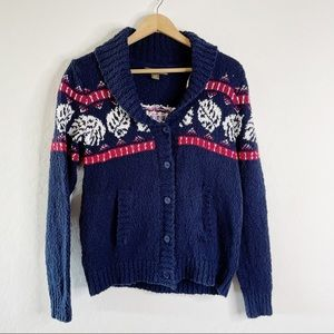 TOMMY BAHAMA Navy Hawaiian Sweater Cardigan Collar